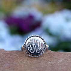Monogrammed Sterling Silver Nala Ring from Marleylilly.com. #ring #love #monogram