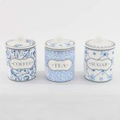 Tea Coffee Sugar Canisters Blue The Table Pair Of Grey Bird Cages Storage Jars And
