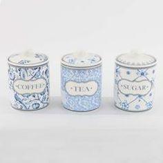 S/3 PORCELAIN JAR SUGAR/COFFEE/TEA W/BLUE FLOWERS 10.5X16