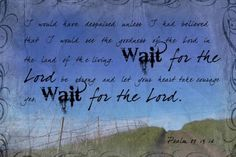 Psalms 27:13-14  Wait on the Lord