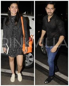 Alia Bhatt and Varun Dhawan are two of the busiest stars of Bollywood. The youngsters are clicked here at the Mumbai airport for some night flying. Mumbai Airport, Alia And Varun, Varun Dhawan, Saree Dress, Alia Bhatt, Cotton Skirt, Kurti, Casual Wear, Wicked