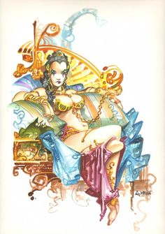Slave Princess Leia - Beautifully Done Color Piece - Signed art by Alfonso Azpiri Comic Art