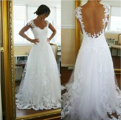 2014 ivory lace wedding dress-backless