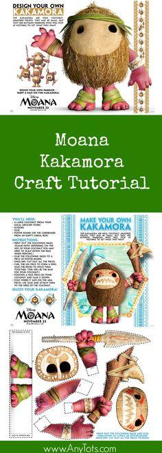 Moana Craft. Free Printable Craft Tutorial. www.anytots.com