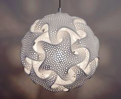 Laser sintered lamp - A lamp by Bathsheba Grossman that is a laser fused complex mathematical 3d form and one of my all time favorites.