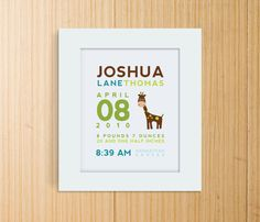 Custom Birth Announcement Print - GIRAFFE Wall Art, $19. So so cute!