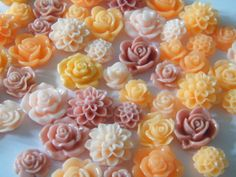 Set of 56  Resin Cabochons Flat Back Resin Roses by HeavenlyOgres, $10.00