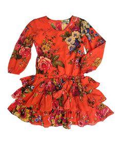 Another great find on #zulily! Orange Brooklyn Woven Ruffle Dress - Toddler & Girls #zulilyfinds