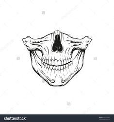 Skull Jaw Sketch Tattoo Design. Hand Drawn Vector Illustration ...