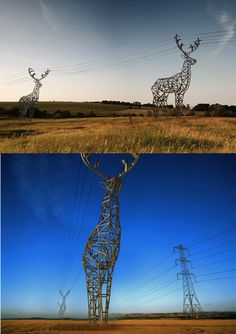 Making ugly beautiful   deer-shaped pylons concept by DesignDepot