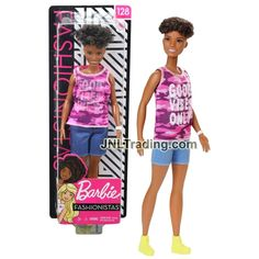 Year 2018 Barbie Fashionistas 12 Inch Doll #128 - African American Mod – JNL Trading African American Models, Camo Top, Barbie Collection, Pink Camo, Good Vibes Only, Blue Denim, Denim Shorts, Dolls, Toys