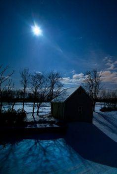 Barn By Moon Light