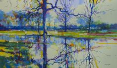 Field after the rain acrylic on canvas semi abstract landscape painting. Doug Eaton - Forest of Dean 150 x 90cm