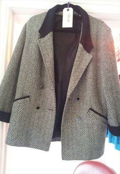 80s monochrome oversized tweet coat £25