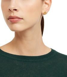 Shiny Gold Tory Burch Hex Logo Stud Earring