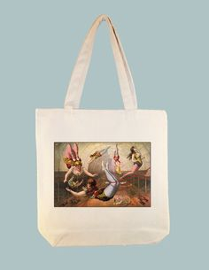 Vintage Trapeze Performers Circus poster on 15x15 Canvas  tote - larger zip top tote style and personalization availble