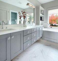 Tub next to vanity Bathroom Spa, Bathroom Renos, Grey Bathrooms, Bathroom Remodeling, Bathroom Ideas, Master Bath Vanity, Master Bathroom, Farmhouse Remodel, Bath Vanities