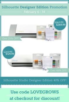 Shop the HUGE Silhouette sale going on right now for the Silhouette Studio Designer Edition software! Sale ends 2/14