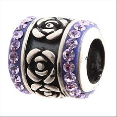 Rose Flower With Violet Austrian Crystal Authentic Sterling Silver Solid Core Charm Decorative