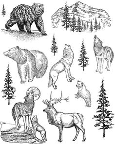 Wildlife Unmounted Rubber Stamp Sheet Can I use this to make a three wolf moon card?
