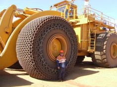 Mining loader; it costs over 60,000 dollars to replace a flat tire.