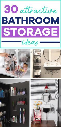 Bathroom storage ideas and hacks to make the most of space in a small bathroom and finally get your entire bathroom organized (especially for small bathrooms). Creative Bathroom Storage Ideas, Small Bathroom Organization, Bathroom Hacks, Home Organization Hacks, Organizing Your Home, Organizing Ideas, Bathroom Ideas, Small Space Bathroom, Small Bathrooms