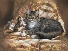 Cat Family - Cats Wallpaper ID 1445094 - Desktop Nexus Animals I Love Cats, Crazy Cats, Cute Cats, Pretty Cats, Beautiful Cats, Beautiful Artwork, Pension Pour Chat, Gatos Cats, Cat Wallpaper