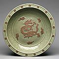 Plate with Relief Dragon among Clouds, 1300s, China, Zhejiang province, Longquan region, Yuan dynasty