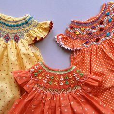 Angel sleeve smocked dresses-contemporary colors