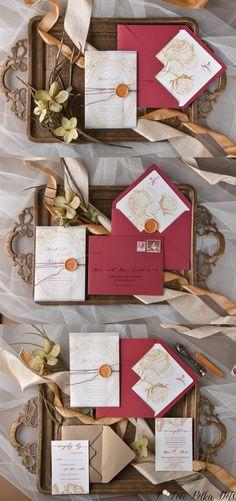 Vintage gold and burgundy wedding invitations #goldwedding #burgundywedding
