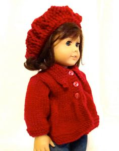 This doll sweater and slouch hat is a cute outfit for your doll. The sweater has a collar and three red buttons that are very cute. The hat is a slouch beret style. Both are knit from high quality red yarn and make a super cute winter outfit for your doll. This slouch hat and sweater will fit all 18 dolls. Feel free to contact me with any questions or to design a custom item