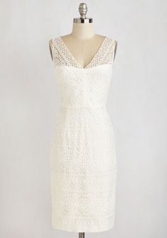 Bliss is It Dress. Elegantly strut along the aisleway in this sensational ivory sheath dress! #white #wedding #bride #modcloth