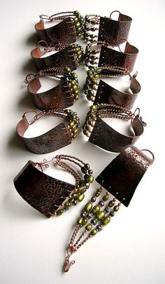 Copper and Beaded Bracelets by Ms.B
