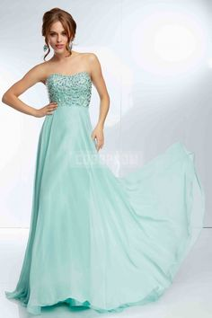 Long Empire Zipper Chiffon A-line Strapless Prom Dress