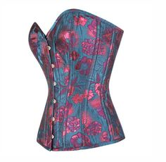£89.00 US $116.61 Blue and Pink Floral Corset | Corsets UK | Corset USA | Plus Size Corsets