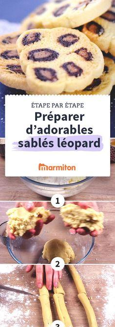 Sablés léopard, des jolis biscuits tachetés pour le goûter ou pour accompagner le thé faciles à faire en suivant notre recette pas à pas #marmiton #recette #recettemarmiton #pasapas #recettepasapas #diy #biscuits #leopard
