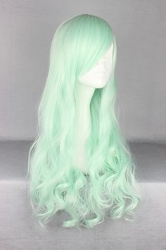 New Fashion 70cm/60cm Long ice green  Beautiful lolita wig Anime Wig