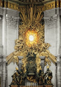"""Gian Lorenzo Bernini, Chair of Saint Peter    """"An oval window of yellow Bohemian glass, painted with the flying dove of the Holy Spirit, explodes through the basilica wall in a blinding sunburst or """"glory."""" It's the Big Bang of God's revelation, a blast that seems to pulverize the marble cornice."""" —Camille Paglia, Glittering Images"""