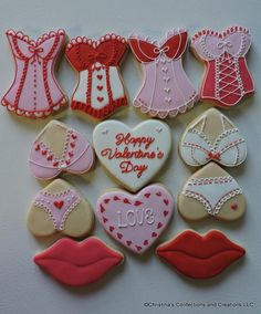Valentine or Love themed Lingerie Cookie Platter set 2472 Valentines Day Cookies, Valentine Crafts, Christmas Cookies, Birthday Cookies, Valentine Nails, Valentine Ideas, Cookie Icing, Royal Icing Cookies, Lingerie Cookies