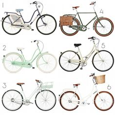 1. Girard Quatrefoil Bike, $799.99; 2. Electra Seafoam Bike, $480; 3. Gary Fisher Simple City 8, $750; 4. Velorbis Student Balloon Bike, $1295; 5. Linus Dutchie 1, $399; 6. Velorbis Studine Balloon Bike, $1295 Cruiser Bicycle, Beach Cruiser Bikes, Bike Style, Road Bike, Bike Rollers, Amsterdam Bike, Push Bikes, Bicyclettes, Biking