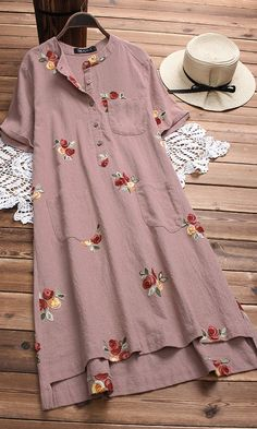 Irregular Floral Embroidered Pockets Short Sleeve Vintage Dresses is high-quality, see other cheap summer dresses on NewChic. Designer Kurtis, Casual Dresses, Fashion Dresses, Loose Dresses, Shift Dresses, Mini Dresses, Floral Dresses, Vintage Dresses Online, Cheap Summer Dresses