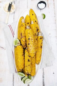 we love to grill corn using olive oil or butter, yum,