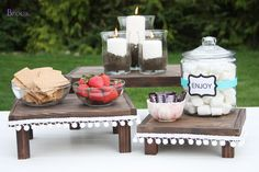 Easy to make mini serving tables to add height and beauty to your next party tablescape.