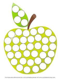 Preschool Do A Dot Printables - Montessori Color, Montessori Activities, Preschool Activities, Q Tip Art, Licht Box, Apple Unit, Do A Dot, Autumn Activities For Kids, Free Printable Art
