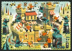 Castle Siege - Attack of the bad mice. 24 piece Jigsaw puzzle for Djeco
