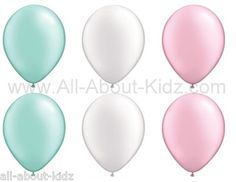 6 Pearl Mint Green White Pink Latex Balloon Set Baby Shower Party Decor | eBay