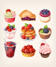 Buy Forest Fruit Desserts by moonery on GraphicRiver. Set of colorful foods and desserts with forest fruits flavors. Desserts Drawing, Colorful Desserts, Creative Desserts, Healthy Desserts, Cute Food Art, Pineapple Desserts, Dessert Illustration, Cute Food Drawings, Forest Fruits