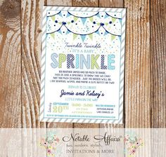 Baby Boy Baby Sprinkle invitation with diagonal stripes plaid polka dots and bunting - blue gray light green - no color changes by NotableAffairs
