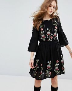 Vero Moda Floral Embroidered Flute Sleeve Dress black asos