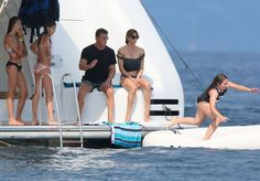 Sylvester Stallone Photos - Actor Sylvester Stallone, his wife Jennifer Flavin and their three girls, Sophia, Sistine, and Scarlet enjoy their vacation on aboard yacht in St Jean Cap Ferrat, France on July 26, 2014. The family was having a great time jet skiing and Sylvester and Jennifer were having tons of fun trying to push each other off the yacht.<br /> <br /> Pictured: Sylvester Stallone, Jennifer Flavin, Sistine Stallone - Sylvester Stallone & F...